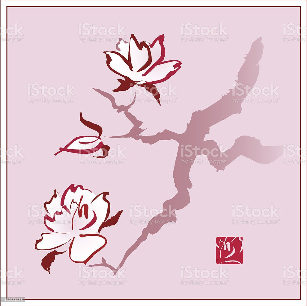 Magnolia / Cherry Blossom Branch royalty-free stock vector art