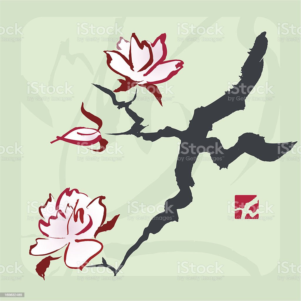 Magnolia / Cherry Blossom Branch royalty-free magnolia cherry blossom branch stock vector art & more images of beauty