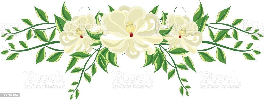 Magnolia Floral Arrangement royalty-free stock vector art