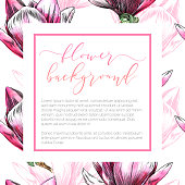 Magnolia Flower Design Template on Seamless Pattern in Watercolor and Ink