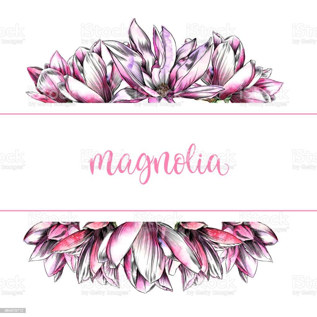 水彩とペンとインク要素とマグノリアの花デザイン テンプレート - イラストレーションのロイヤリティフリーベクトルアート