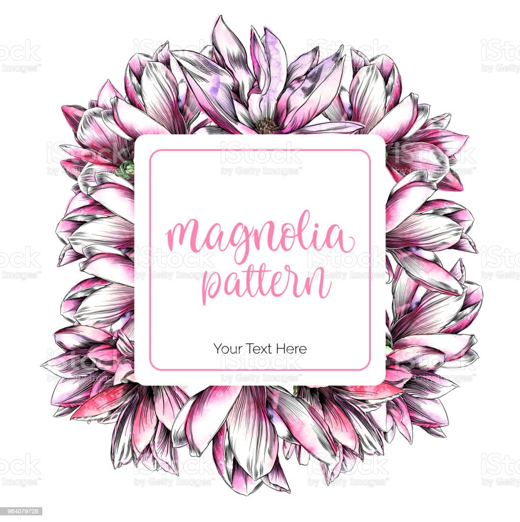 Magnolia Flower Design Template with Watercolor and Pen and Ink Elements - Royalty-free Abstract stock vector