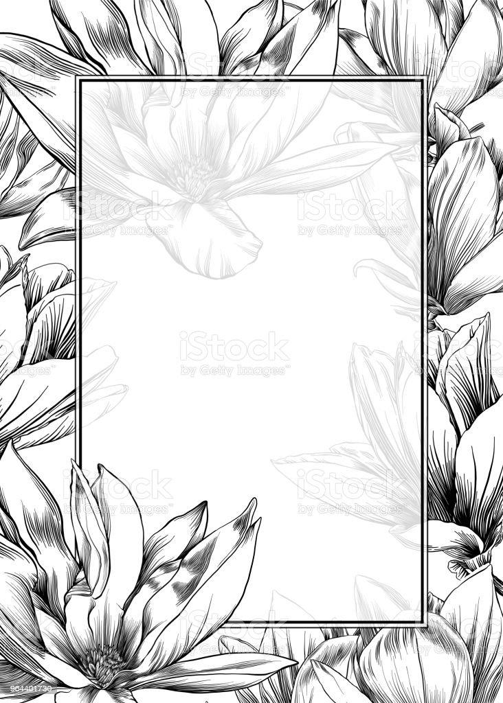 Modelo de Design de flor de magnólia com aquarela e caneta e tinta elementos - Vetor de Abstrato royalty-free