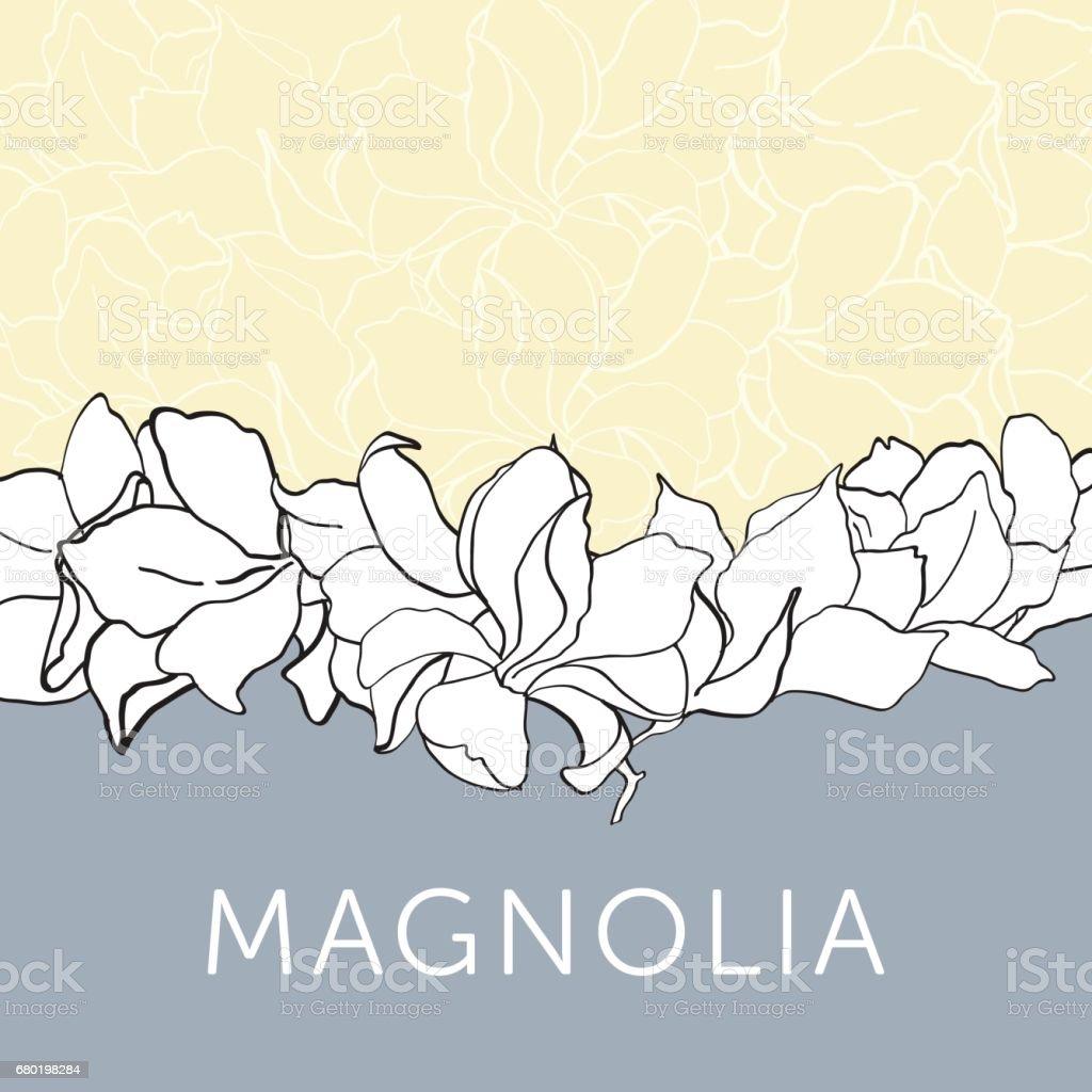 magnolia flower outline sketch for invitation template stock vector