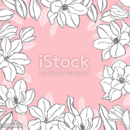 istock Magnolia flowers . Vector background. 1215646414