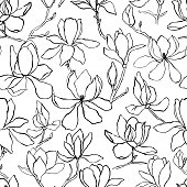 Magnolia.Floral vector background in line style. Seamless pattern. Branches with flowers of magnolia. Modern trendy graphic design template for poster, card, banner, cover, textile, fabric, wrapping.