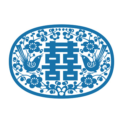 Magpie standing on plum blossom(Chinese traditional double happiness pattern)