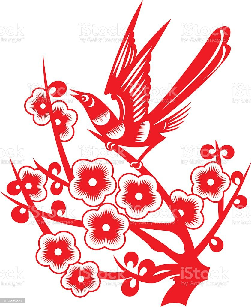 Magpie stood on the plum branches(China paper-cut patterns) vector art illustration