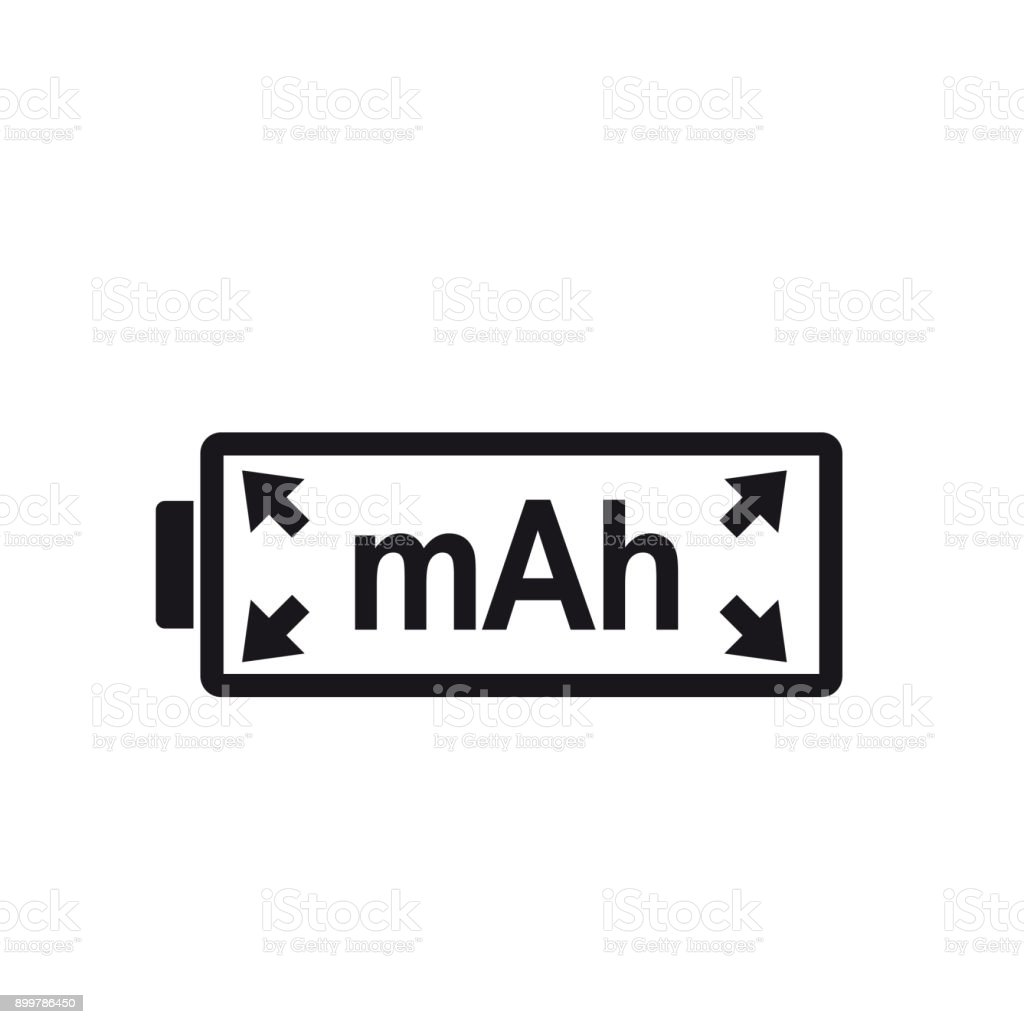 Mah Icon Unit Of Energy Symbol For Capacity Rechargeable Batteries