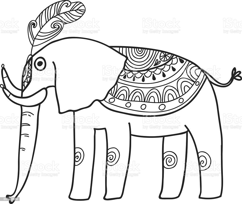 Maharaja Garden Elephant For Coloring Adult Coloring Page Stock ...