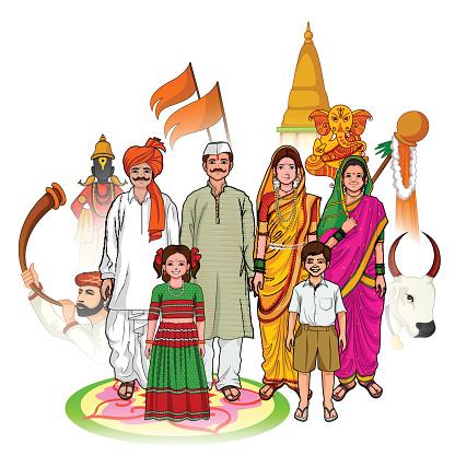 Maharashtrian family showing culture of Maharashtra, India clipart