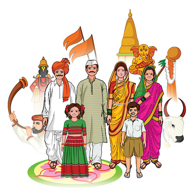 Maharashtrian family showing culture of Maharashtra, India Vector design of Maharashtrian family showing culture of Maharashtra, India indian family stock illustrations