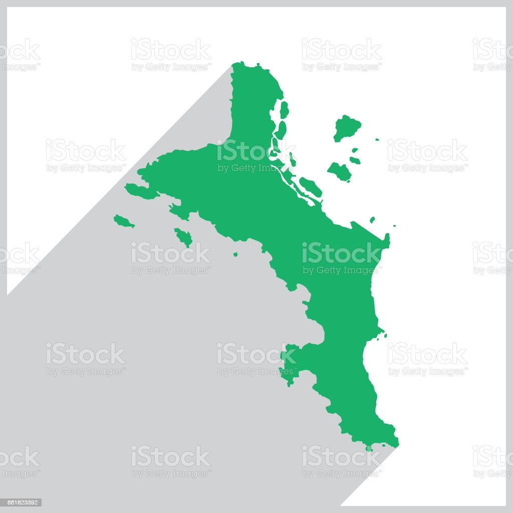 Mahe Island Green Map icon vector art illustration
