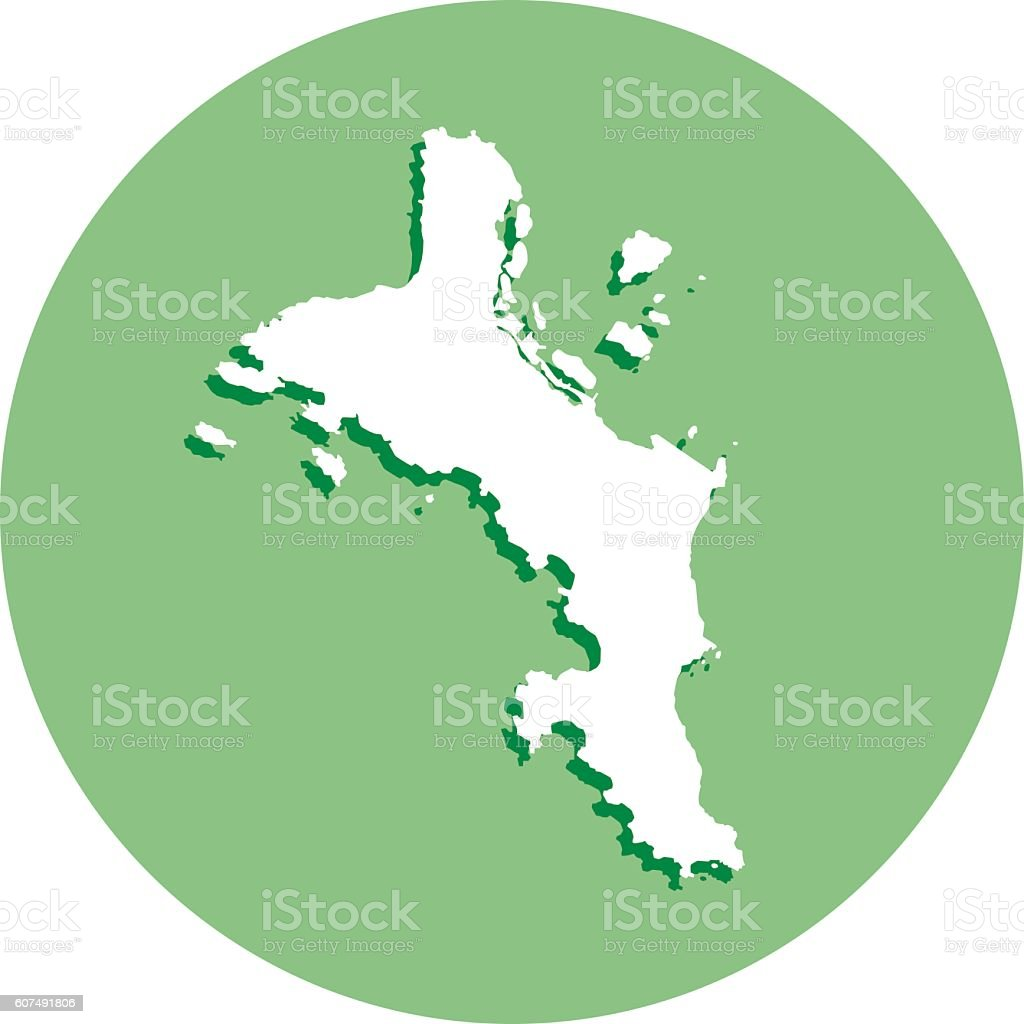 Mahe Round Map Icon vector art illustration
