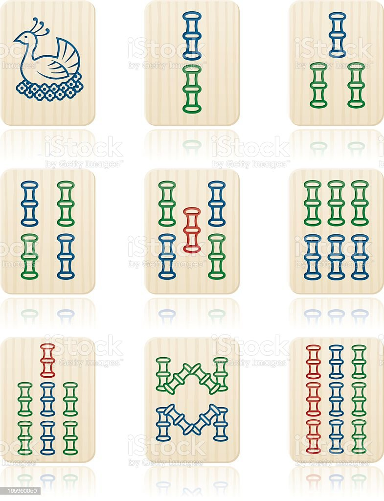 Mahjong Suits: Bamboo Tiles royalty-free mahjong suits bamboo tiles stock vector art & more images of board game
