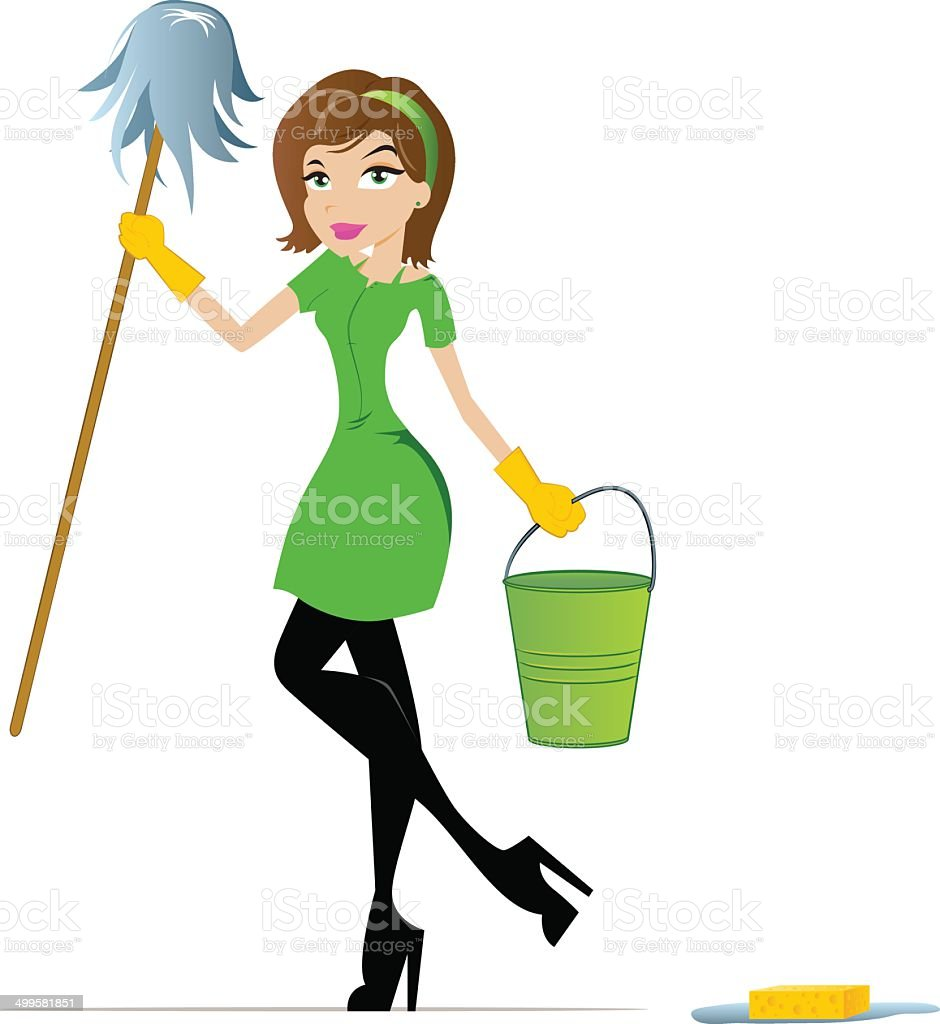 Maid Cartoon vector art illustration