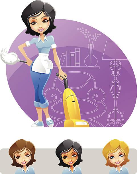 illustrazioni stock, clip art, cartoni animati e icone di tendenza di cameriera o donna delle pulizie con spolverino e aspirapolvere - cameriera