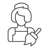 Maid thin line icon. Clean service vector illustration isolated on white. Housemaid outline style design, designed for web and app. Eps 10