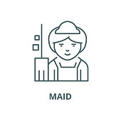 Maid vector line icon, linear concept, outline sign, symbol