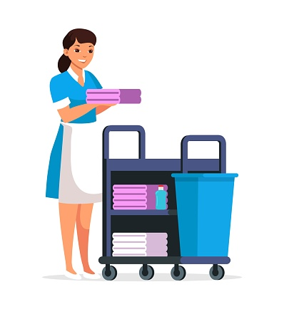 Maid with trolley, fresh towels, person isolated