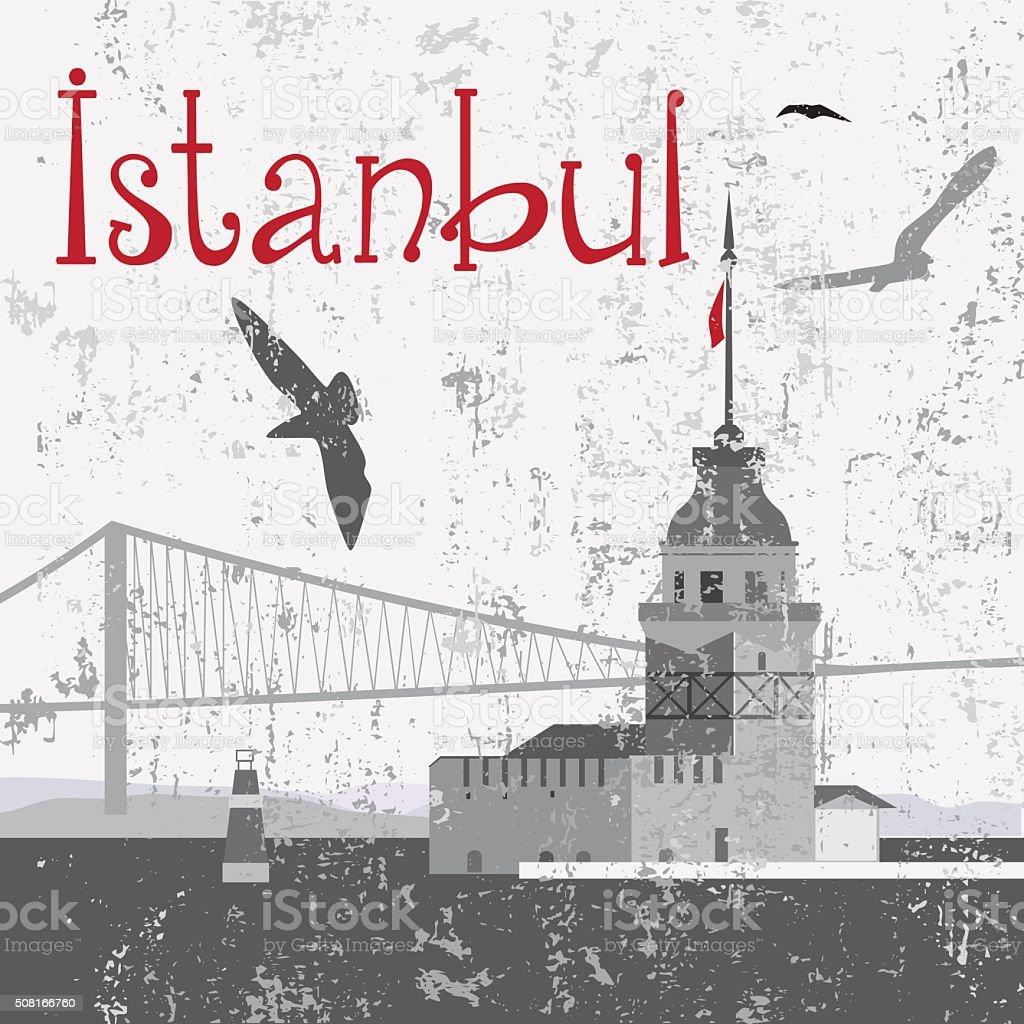 Maiden's Tower and Bosphorus Bridge vector art illustration