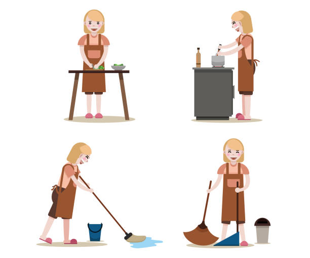 maids work set. women with cleaning equipment isolated vector. housekeeper job. - busy restaurant kitchen stock illustrations