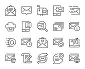 istock Mail and Messaging - Light Line Icons 1295606316