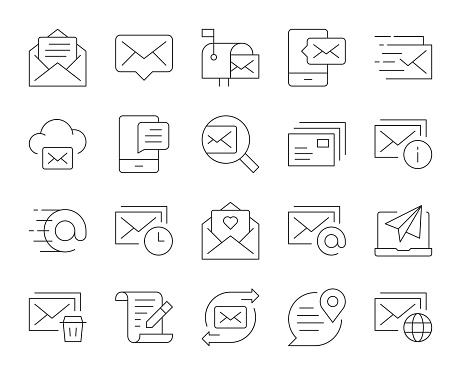 Mail and Messaging - Thin Line Icons