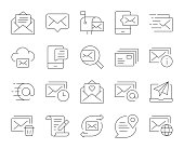 istock Mail and Messaging - Thin Line Icons 1295016651