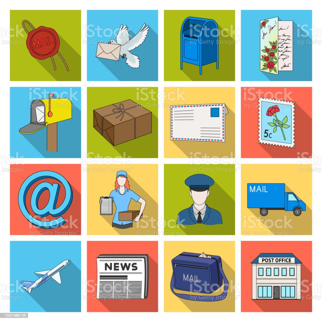 Mail And Postman Flat Icons In Set Collection For Design Mail And
