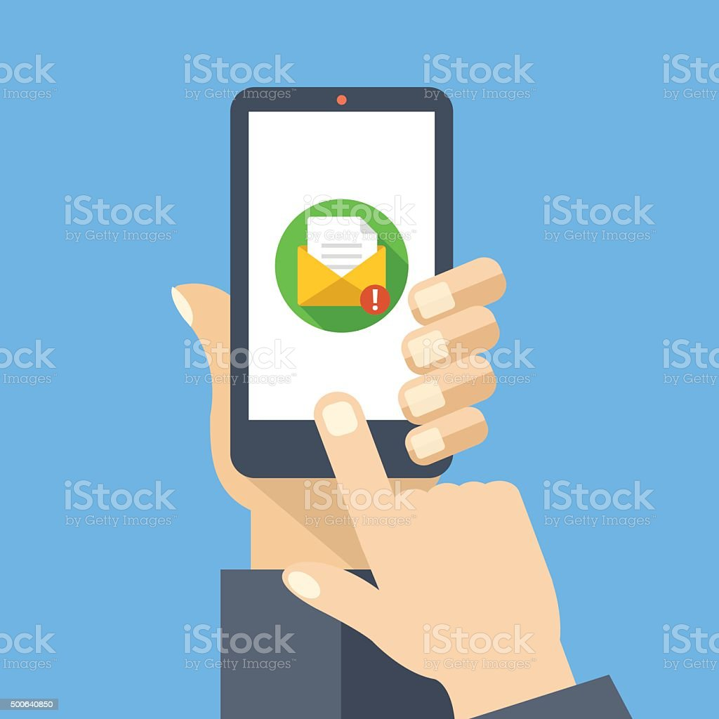 Mail app on smartphone screen. New message is received vector art illustration