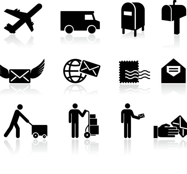 mail black and white royalty free vector icon set - postal worker 幅插畫檔、美工圖案、卡通及圖標