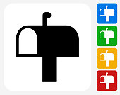 Mail Box Icon Flat Graphic Design