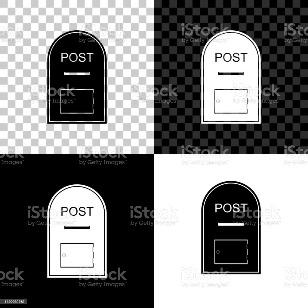 Mail box icon. Post box icon isolated on black, white and transparent...