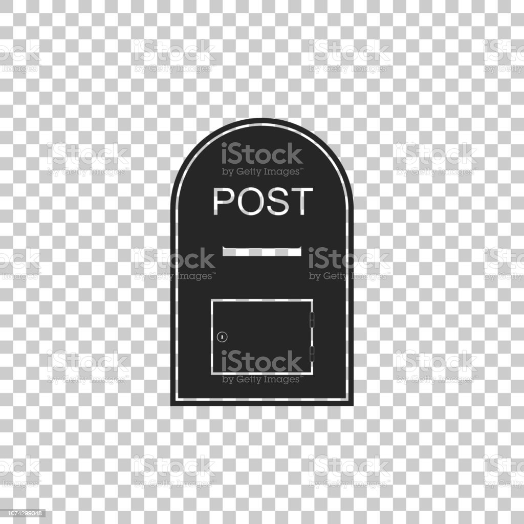 Mail box icon. Post box icon isolated on transparent background. Flat...