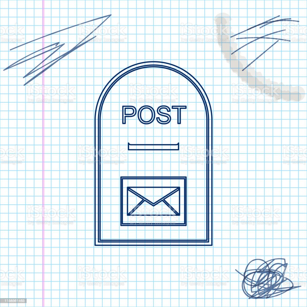 Mail box icon. Post box line sketch icon isolated on white...