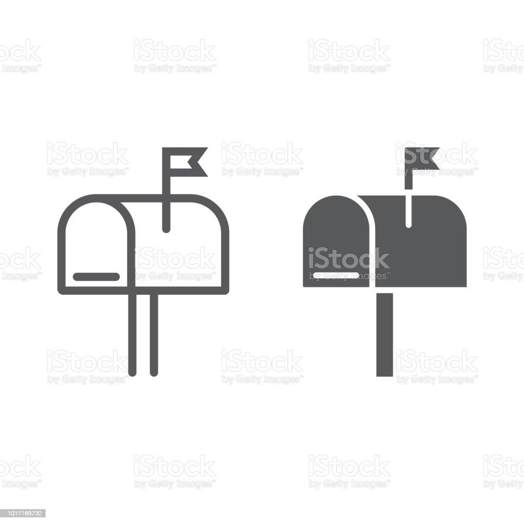 Box-Linie und Glyphe Postikone, Brief und Post, Postfach Zeichen, Vektor-Grafiken, ein lineares Muster auf weißem Hintergrund, Eps 10. – Vektorgrafik