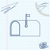 Mail box line sketch icon isolated on white background. Mailbox icon. Mail postbox on pole with flag. Vector Illustration