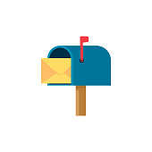 istock Mail box vector illustration in the flat style. 1253626121