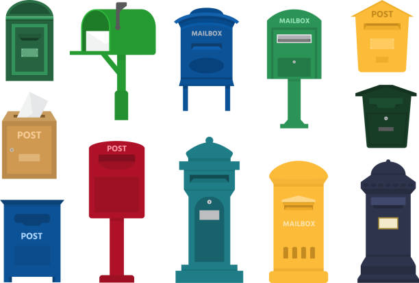 Post Box Vektor post Postfach oder Post-Briefkasten des amerikanischen oder europäischen Mailings und Satz von Briefkästen zur Auslieferung per Post Briefe an verschiedene Länder Abbildung isoliert auf weißem Hintergrund – Vektorgrafik