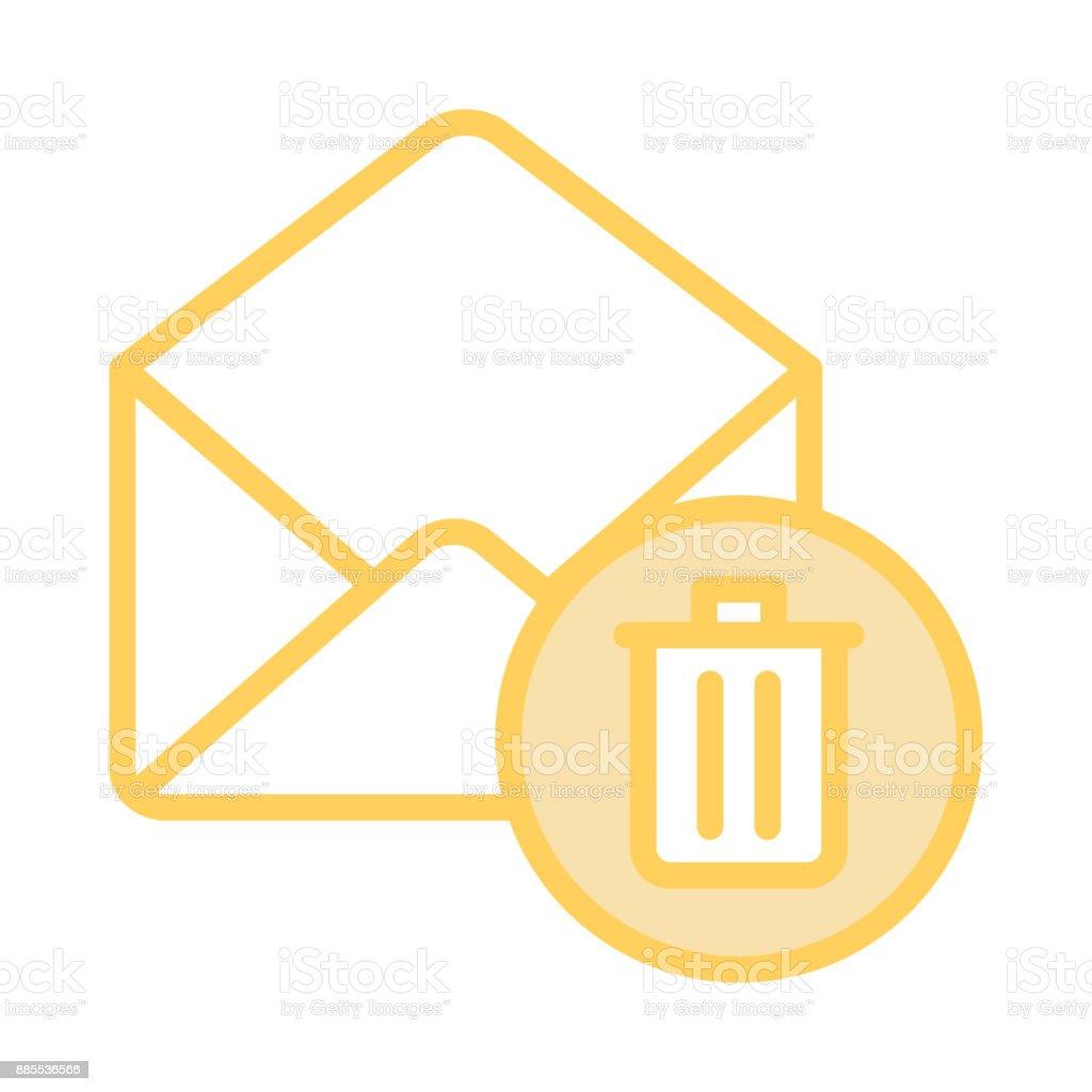 mail delete colour line icon