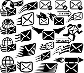 Mail Delivery and Postal Services interface icons on White Background