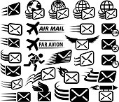 Mail Delivery and Postal Services interface icons