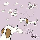 Vector illustration - Mail delivery by animals.