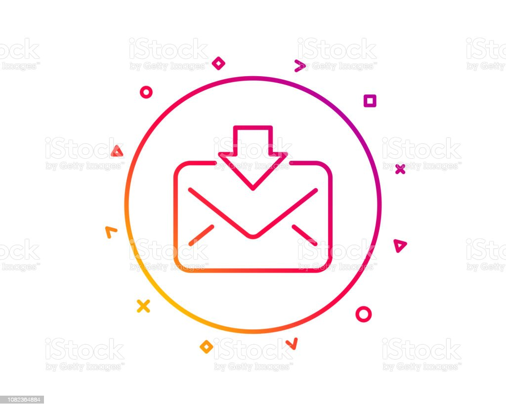 Mail Download Line Icon Incoming Messages Correspondence Sign Vector