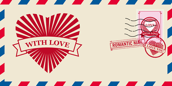 Mail envelope for Valentine day with Hearts Love, post stamp. Template vector illustration isolated