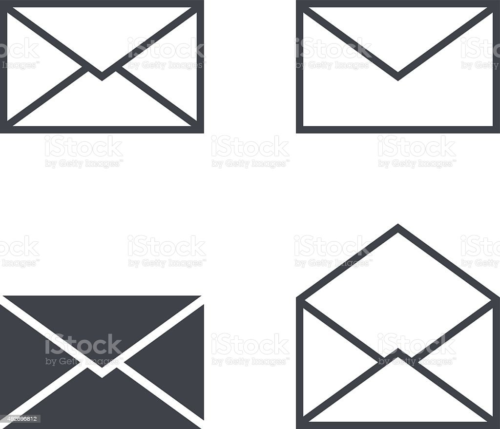 Mail envelope icon set, modern minimal flat design style icons vector art illustration