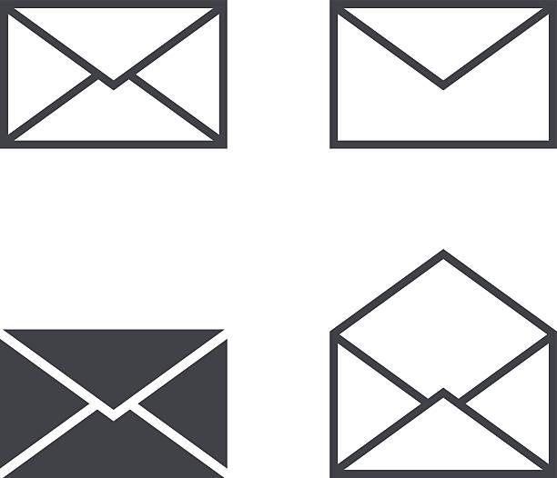 Hauspost-Kuvert icon-set, moderne minimalistische flachen design-Stil-Ikonen – Vektorgrafik