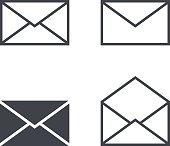 Mail envelope icon set, modern minimal flat design style icons
