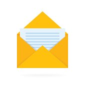 Mail envelope icon with documents. Email send concept vector illustration
